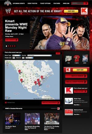 Landing page of the WWE Live Event