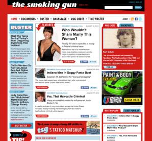 Landing page for The Smoking Gun