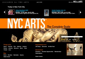 Landing page for Alliance for the Arts