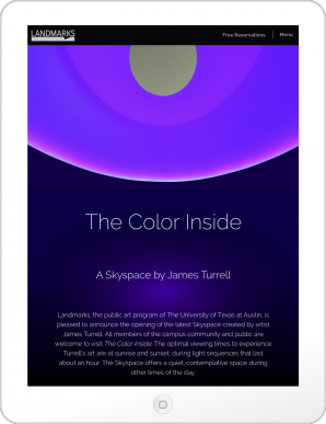 James Turrell Skyspace Website in Tablet View