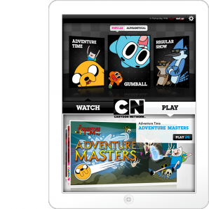 The opening screen of the Cartoon Network App