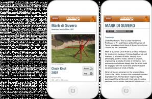 Informational individual artist screens on the Landmarks mobile app