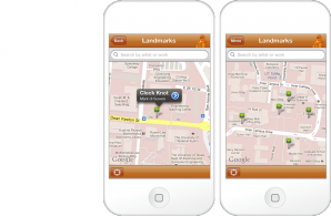 Interactive map for the Landmarks mobile app
