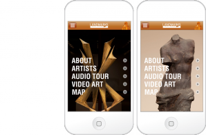 Title screens for the Landmarks mobile app