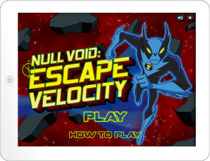 Title screen for Escape Velocity Game in play mode