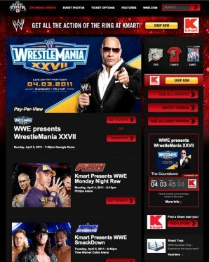 Interior page display listing events for WrestleMania XXVII