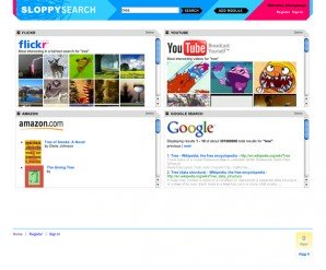 Sloppy Search results page with results for Flickr, YouTube, Amazon, and Google