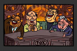 Scene of sports casters laughing from The Sports Guy