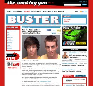 An example of the Buster Blog article page on the Smoking Gun website
