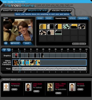 The Video Masher interface with the current video, assets, and timeline