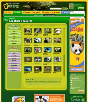 The Creature Features section of National Geographic Kids