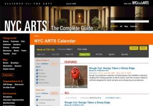 An example of the NY ARTS Calendar tool