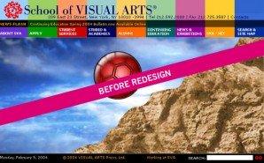 SVA school website before the Funny Garbage redesign