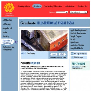 An example of a program overview page for a graduate program at SVA