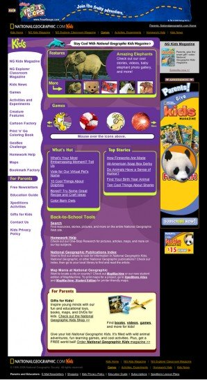 A version of the National Geographic Kids before the Funny Garbage Redesign