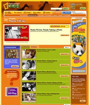 One of the Activities pages on the website