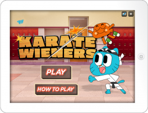 Karate Wieners mobile game features characters from The Amazing World of Gumball