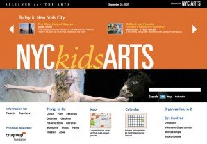 Landing Page for the NYC kids ARTS section
