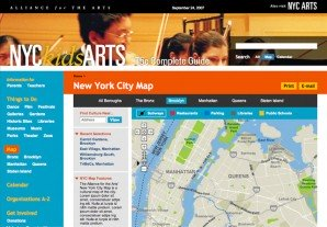 Custom integration of Google Maps for the NYC kids ARTS section