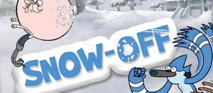 Snow-off title screen featuring the cast of Regular Show